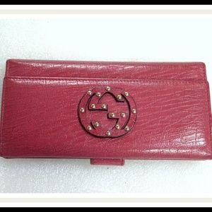 Auth GUCCI Interlocking GG Studded Wallet Clutch